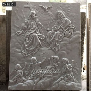 Church wall decor holy family marble carving relief sculpture CHS-612