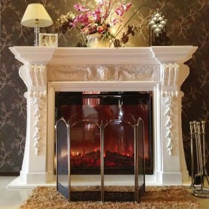 Hot Sale Customized Fireplace Surround White Marble Fireplace Mantel