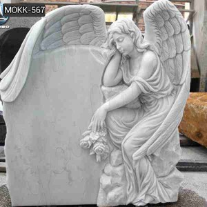 Hand Carved Natural Stone Memorial Angel Statues Marble for Sale MOKK-567