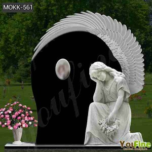 Life Size Marble Angel Cemetery Statues with Customized Service  MOKK-561