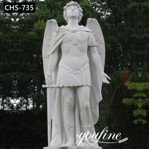 Life Size Marble Archangel Michael Statue Garden Decor for Sale CHS-735