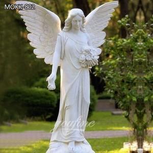 Garden White Marble Angel Statue Beautiful Wings for sale MOKK-802