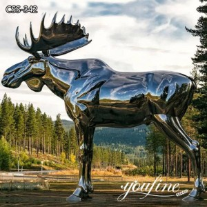 Large Mirror Polished Metal Moose Sculpture Decor for Sale CSS-342