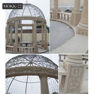 Outdoor hand carved decoration popular marble gazebos designs MOKK-22