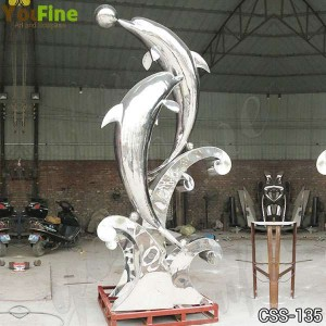 Outdoor Polished Stainless Steel Dolphin Sculpture Pond Decoration for Sale CSS-135