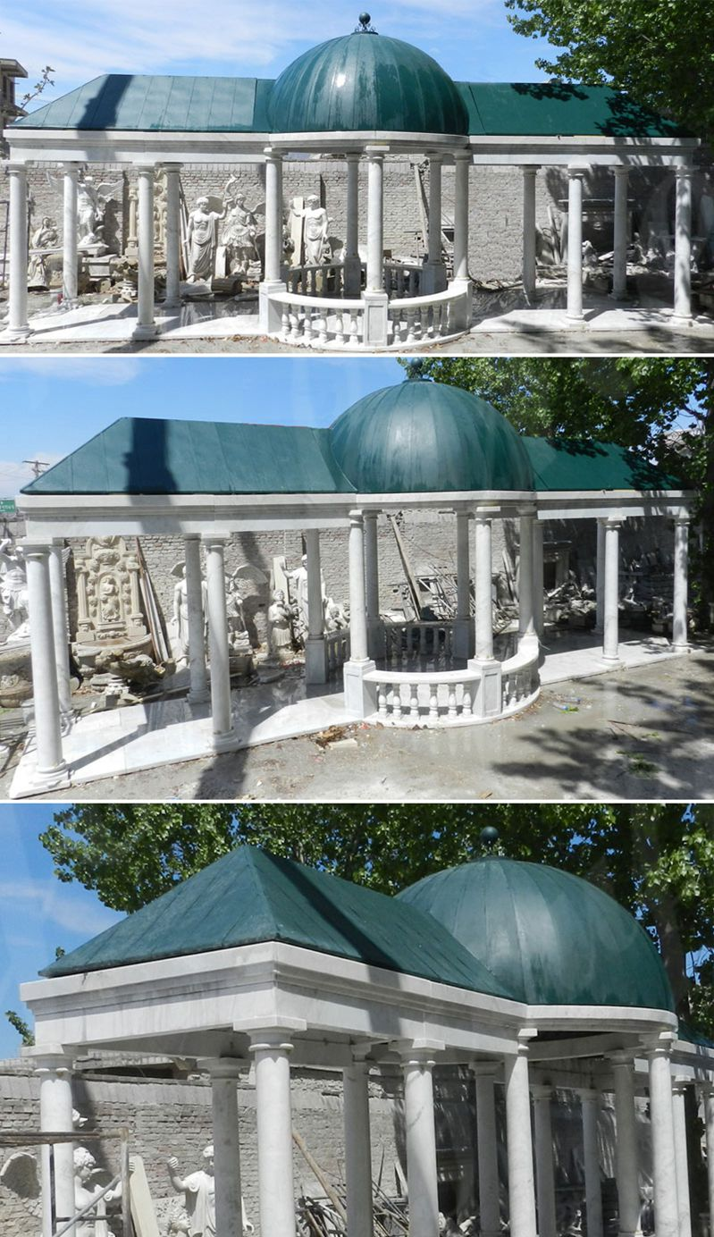 backyard outdoor custom made elegant white marble pavilion designs with railing and hardtop for sale