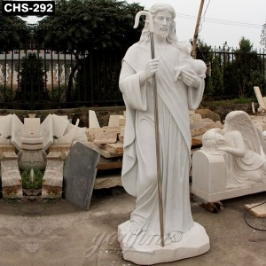 Religious Natural White Marble Jesus Shepherd Statue CHS-292