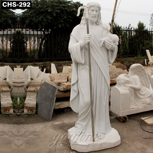 Religious Natural White Marble Jesus Shepherd Statue CHS-292 Featured Image