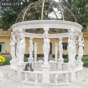 Buy Large Marble Gazebo with Figure Statue for Garden Decor MOKK-579