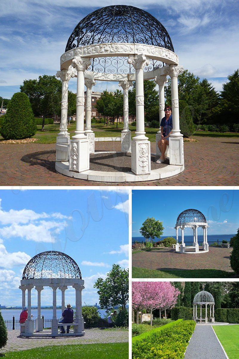 garden Modern Marble Gazebo With Iron Dome For Sale