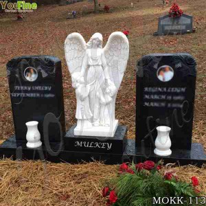 Hand Carved Marble Angel Tombstones Designs with Customized Service MOKK-113