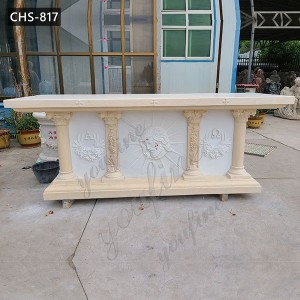 Catholic Cream Marble Church Altar with Jesus Design for Sale CHS-817