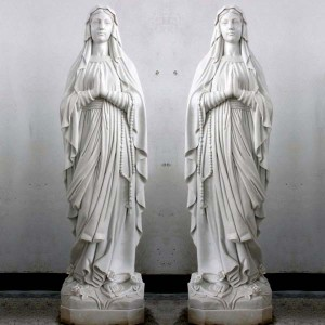 Hand Made Natural Marble Virgin Mary Statue
