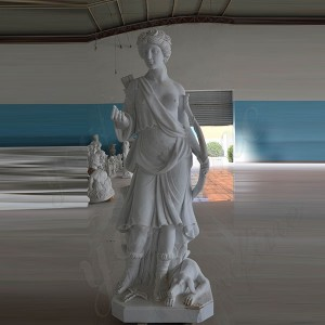Sculpture Supplier Life Size Marble Statue Famous Greek Statue Hunting Goddess Sculpture Marble Garden Decor MOKK-1001