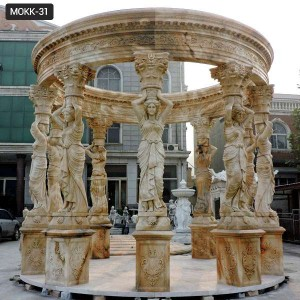 Buy Hot Popular Yellow Marble Figure Gazebo for Garden MOKK-31