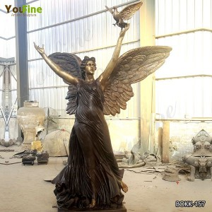 Outdoor Bronze Angel Statue with Peace Dove Design Supplier BOKK-475