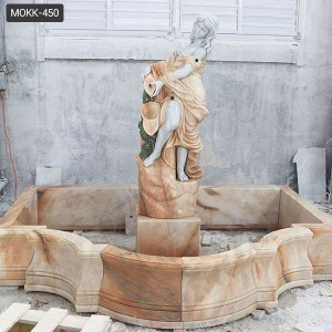 Life Size Sunset Red Marble Water Fountain with Woman Figure Statue for Outdoor Decoration MOKK-450