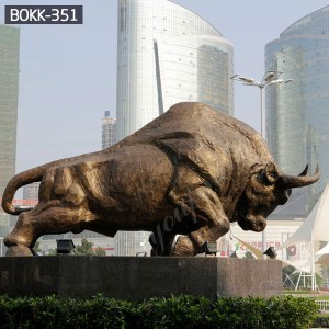 Outdoor Large Bronze Wall Street Charging Bull Statue for Sale BOKK-351