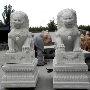 Life Size Marble Lion Statue Lion Statues for Front Porch Chinese Foo Dog Lion Statue MOKK-120