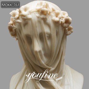 Veiled Vestal Virgin Marble Statue Giovanni Strazza Virgin Replica for Sale MOKK-761