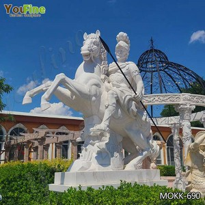 Large Roman White Marble Warrior with Horse Statue for Sale MOKK-690