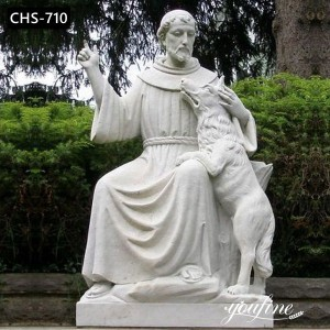 Outdoor Catholic Marble St Francis with Wolf Statue for Sale CHS-710