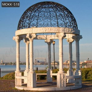 Outdoor Modern marble gazebo with Iron Dome for sale MOKK-518