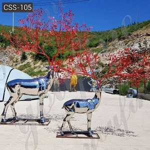 High Polished Custom Stainless Steel Deer Sculpture Metal Yard Decor for Sale CSS-105
