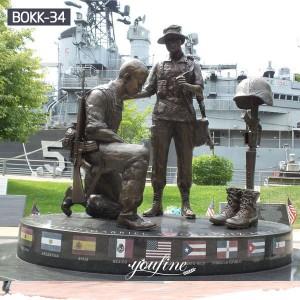 Outdoor Bronze Military Statues Fallen Soldier Battle Cross for Sale BOKK-34