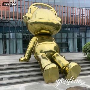 Modern Large Metal Cat Sculpture Square Decor for Sale CSS-344