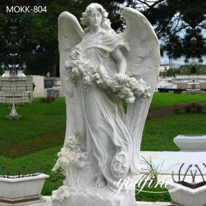 Life-size Marble Angel Statue with Flower for Sale MOKK-804