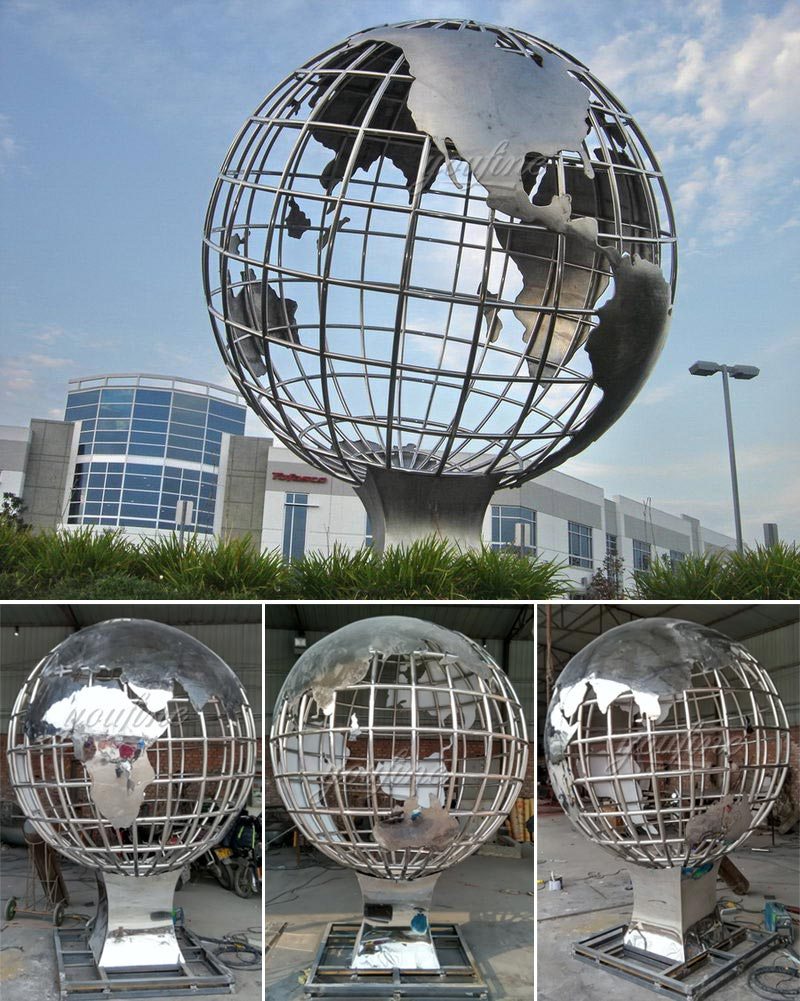 popular globe stainless steel globe sculptures for sale