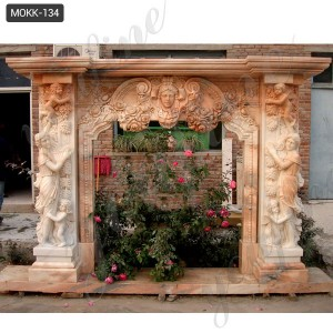 Elegant Lady with Angel Marble Fireplace Mantel Surround MOKK-134