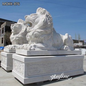 White Marble Lion Statue for Front Porch for Sale MOKK-876