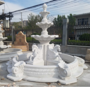 Outdoor 3-tier outdoor fountain with four horse head sculptures for sale MOKK-84