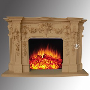 Decorative Hand Carved Freestanding Beige Marble French Fireplace
