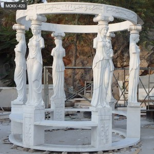Outdoor Large White Marble Lady Gazebo Garden Decoration for Sale MOKK-420