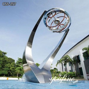 Modern Matte Large Stainless Steel Water Feature Fountain for Sale