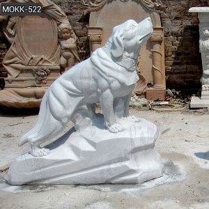 Life Size Detailed Carving Marble Dog MOKK-522
