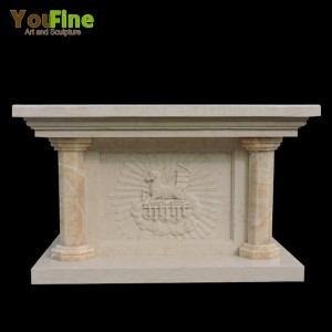 Religious Hand caved Marble Church Altar Table for Sale
