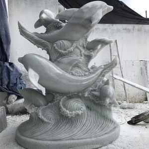 Outdoor garden decor marble dolphin sculpture for sale