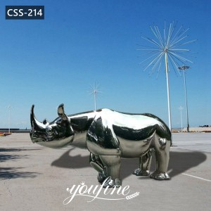 High Quality Large Stainless Steel Rhino Sculpture Yard Decor for Sale CSS-214