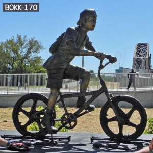 Metal Yard Decorations Bronze Figure Statue Bronze Statues for Garden Bronze Boy Ridding Bicycle Sculpture BOKK-170