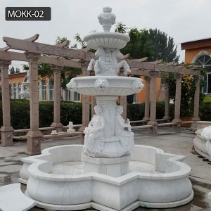 Pure white garden decoration marble outdoor fountain for sale MOKK-02