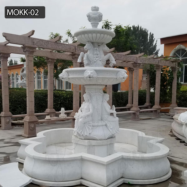 Pure white garden decoration marble outdoor fountain for sale MOKK-02 Featured Image