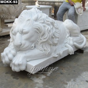 Pure White Color Laying Big Lion Statue MOKK-93