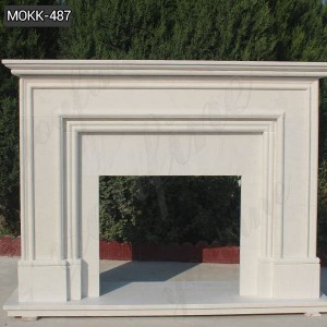 Buy Simple White Hand Carved Marble Fireplace for Home Decor MOKK-487