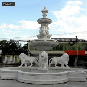 Natural stone garden tired water fountain life size for sale MOKK-03