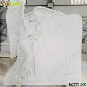 White Marble Angel Memorials Headstone Grave Angels Ornaments for Sale MOKK-655