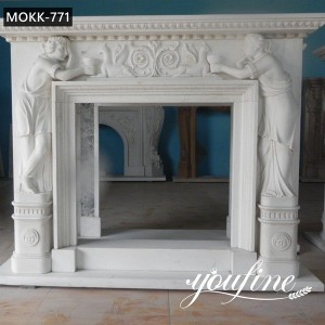 Hand Carved White Marble Fireplace Surround with Figure and Bird Designs for Sale MOKK-771